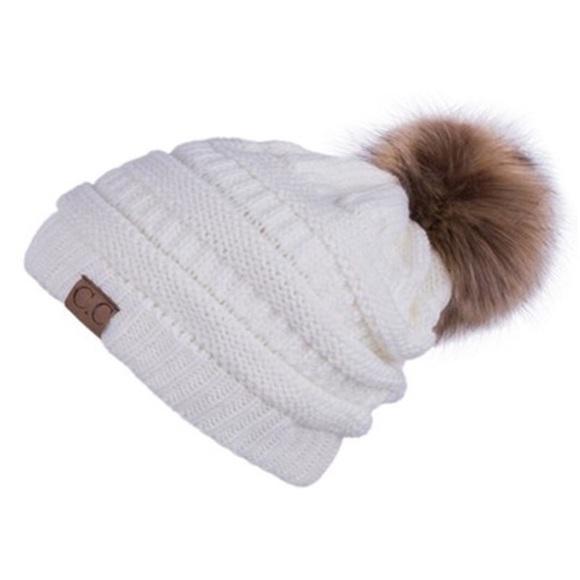 682c36e94b0 C.C White Cable Knit Beanie Faux Fur Pom Pom